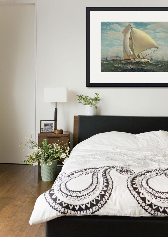 """""""Vintage Painting of a Fast Sloop Sailboat (1895)&quot  by Alleycatshirts"""
