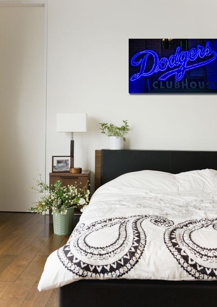 """""""Dodgers Clubhouse in Neon Lights""""  (2019) by LynnBauer"""