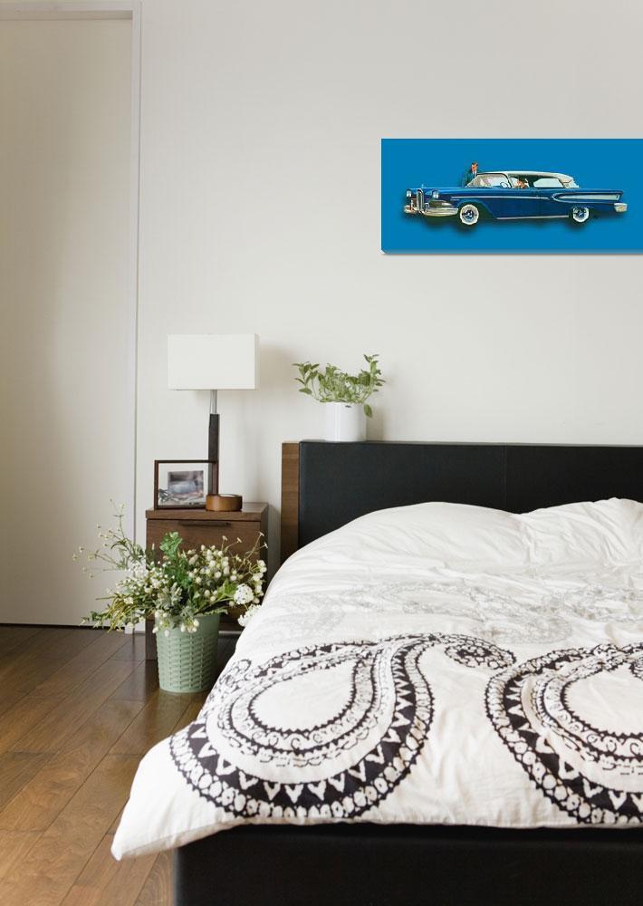 """Edsel Citation Car Advertisement Sedan Blue""  (2018) by RubinoFineArt"