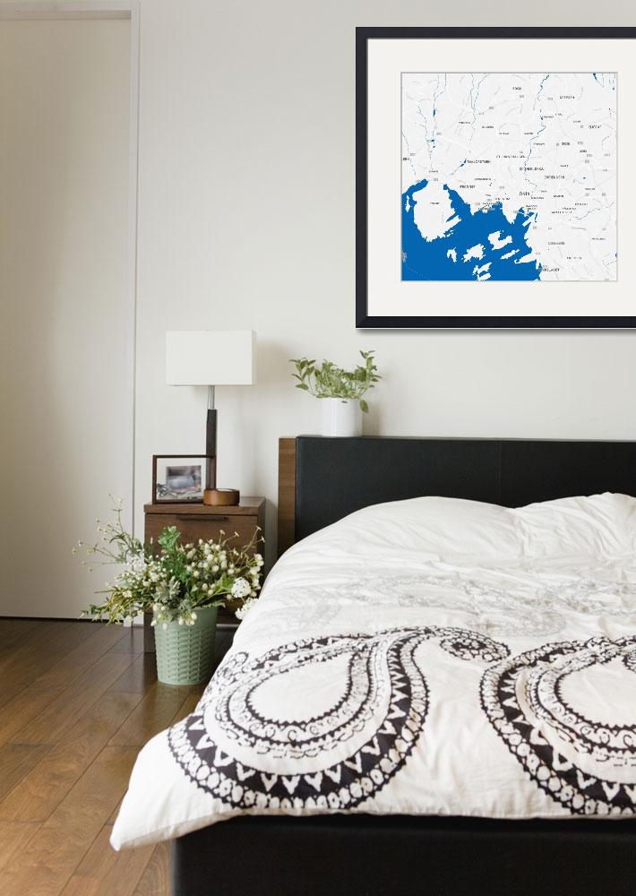 """Minimalist Modern Map of Downtown Oslo, Norway 4""  by motionage"