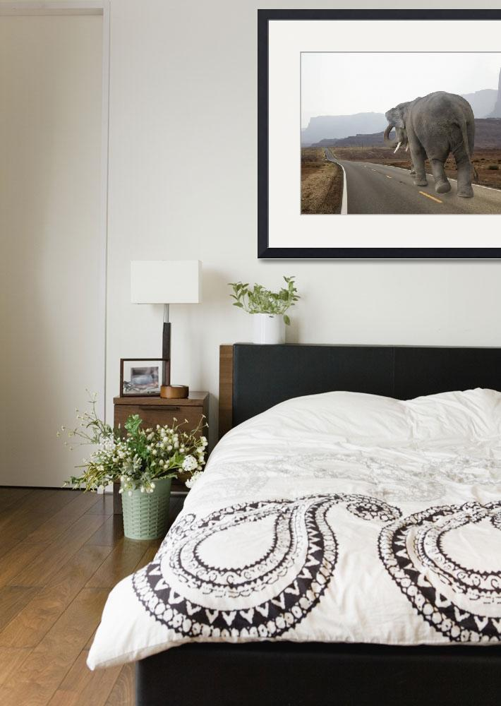 """""""Photo of a tired elephant walking the long road&quot  (2010) by StephanieDRoeser"""