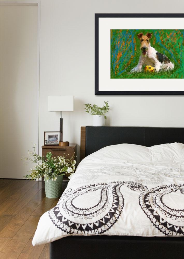 """""""Wired Fox Terrier with ball&quot  (2011) by kring"""