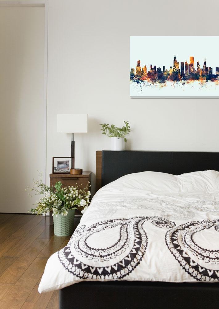 """Chicago Illinois Skyline""  (2015) by ModernArtPrints"