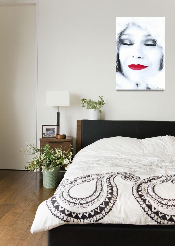 """Lady Red Lips Winter Dreaming -  Oil""  (2012) by WallArtDeco"