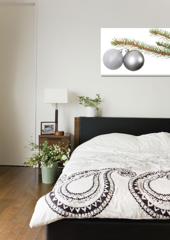 """""""Two silver christmas balls hanging on a fir. Isola""""  by Piotr_Marcinski"""