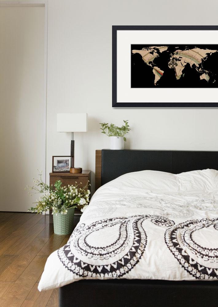 """""""World Map Silhouette - Compass Rose&quot  by Alleycatshirts"""