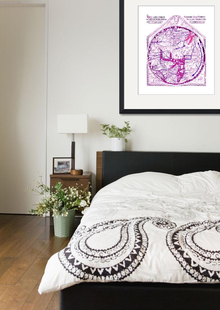 """Hereford Mappa Mundi Latin Text Violet 2 Lrg White""  (2014) by TheNorthernTerritory"