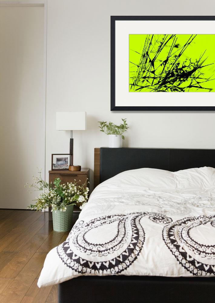 """""""Strike Out Lime Green and Black Abstract&quot  (2012) by NatalieKinnear"""