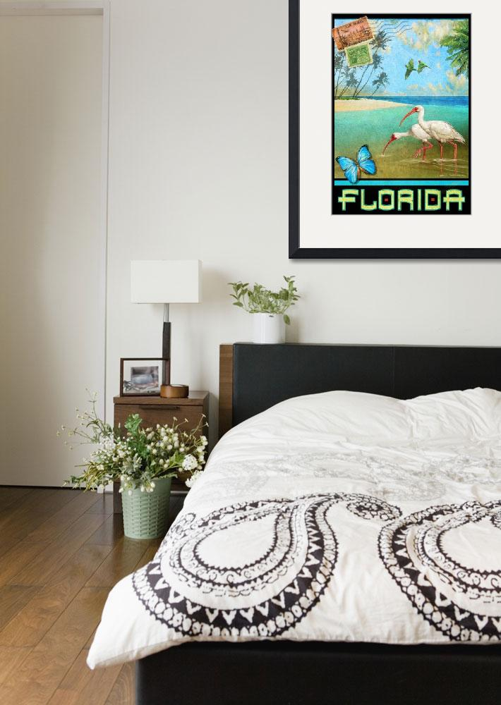 """""""vintage florida travel poster with ibis&quot  (2017) by rchristophervest"""