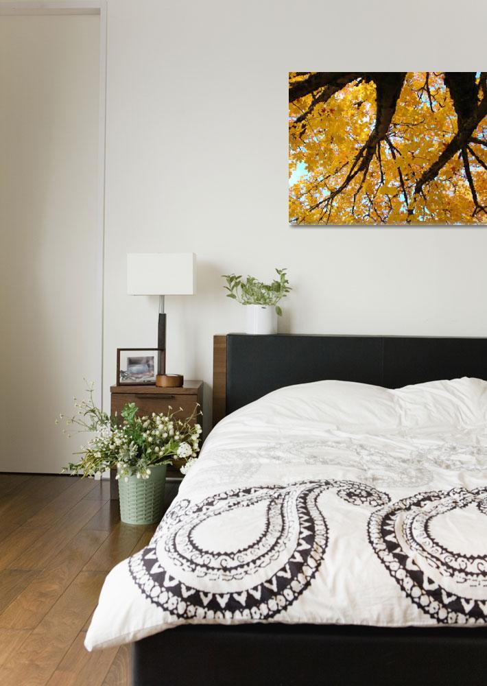 """Yellow Fall Art prints Autumn Trees Botanical&quot  (2011) by BasleeTroutman"