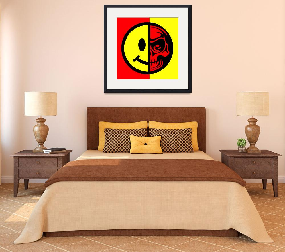 """""""Smiley Face Skull Yellow Red&quot  (2015) by RubinoFineArt"""