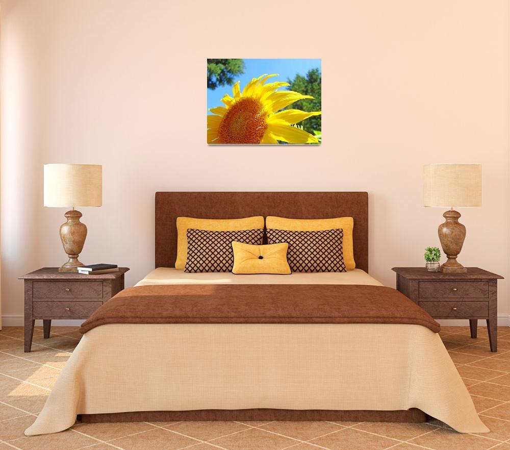 """Sunflower Yellow Bright Sunny Sun Flower Art Print&quot  (2009) by BasleeTroutman"