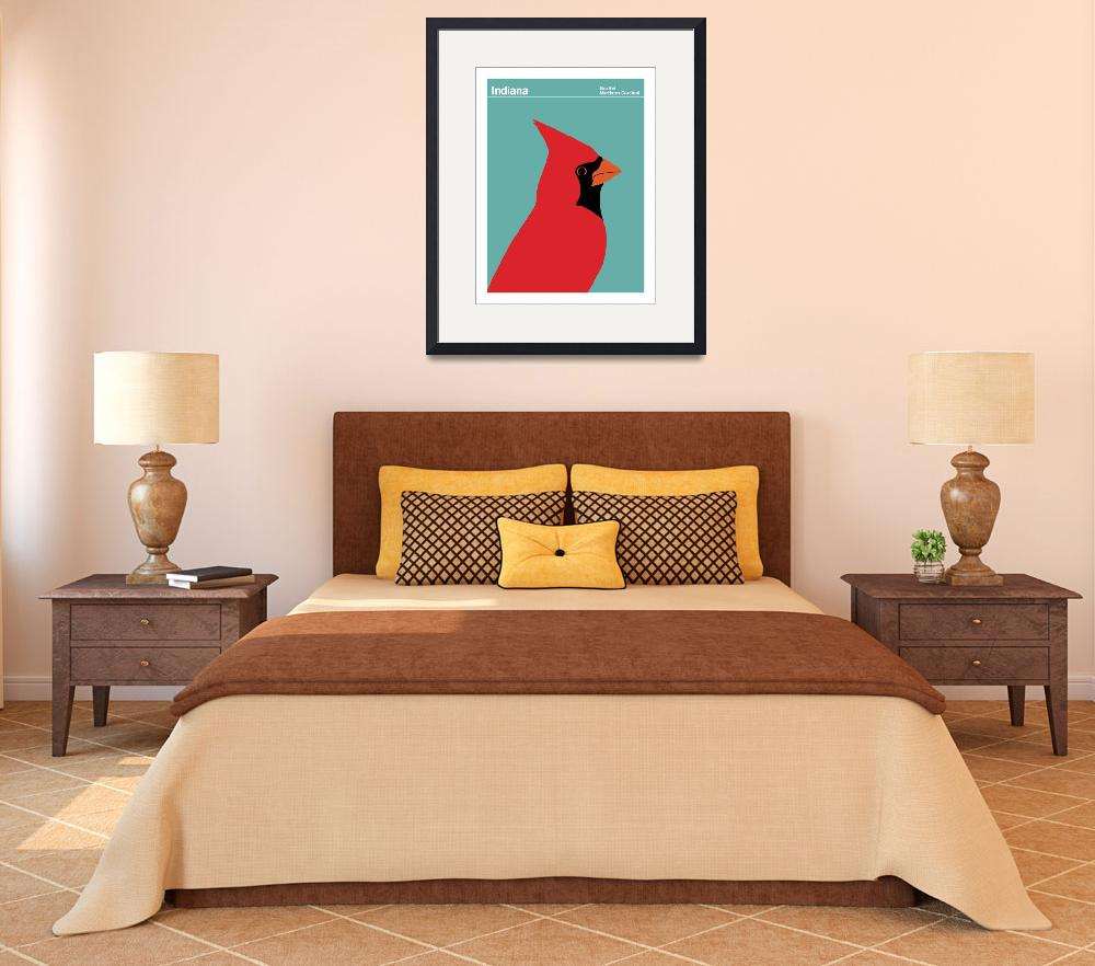 """""""State Posters - Indiana State Bird: Northern Cardi&quot  by artlicensing"""