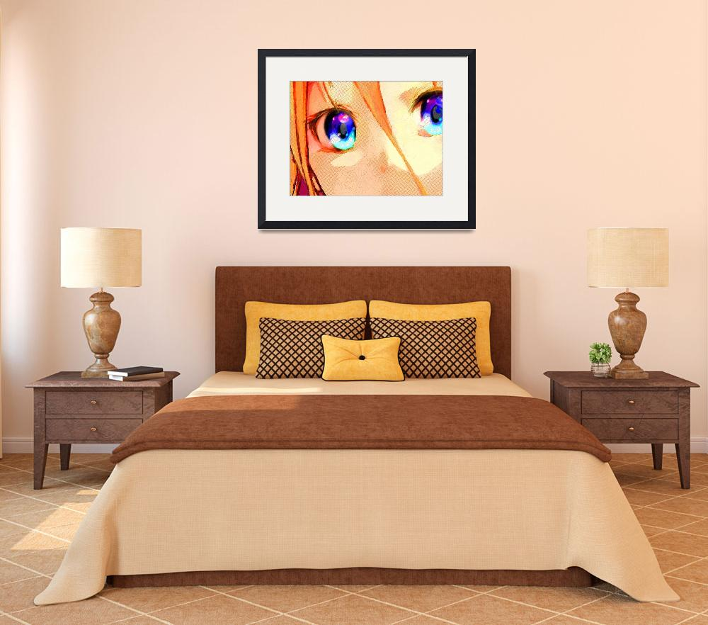 """""""Anime Girl Eyes Gold&quot  (2018) by RubinoFineArt"""