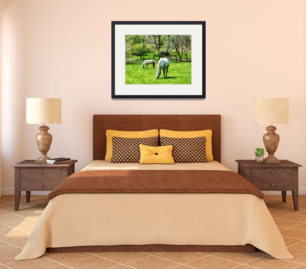 """""""Two White Horses Grazing""""  by susansartgallery"""