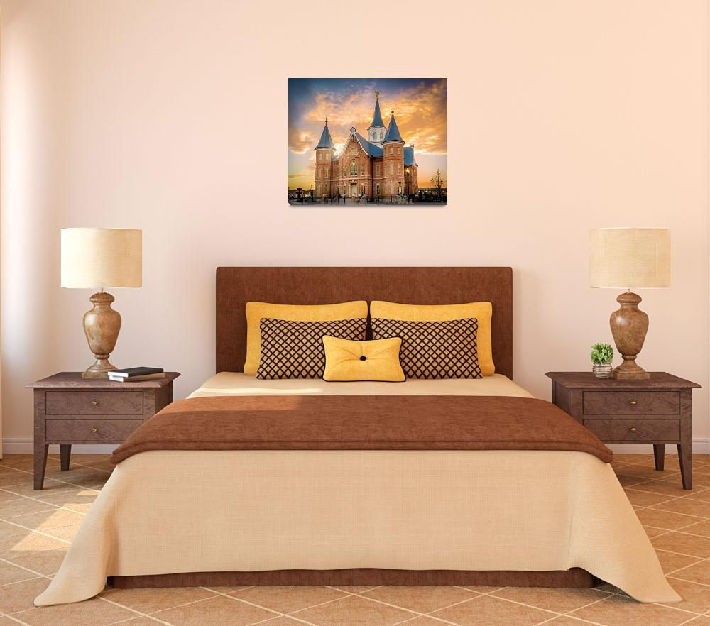 """Provo City Center Temple Golden Sunset&quot  by KennyLatimerPhotography"
