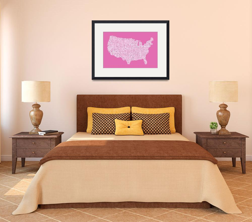 """United States Typography Text Map&quot  (2012) by ModernArtPrints"