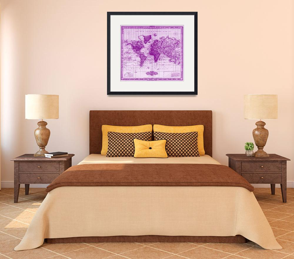 """Vintage Map of The World (1833) White & Purple&quot  by Alleycatshirts"