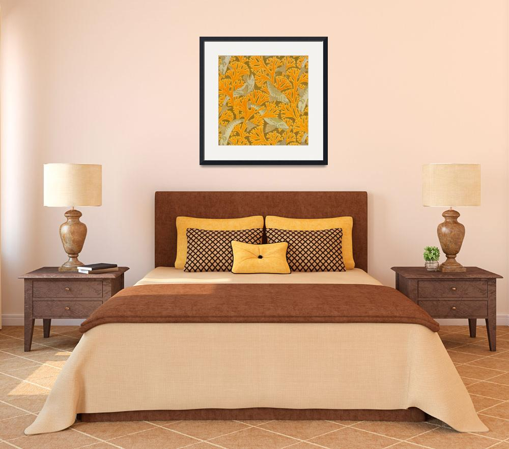 """""""Vintage Art Deco Fish and Yellow Coral Design&quot  by Alleycatshirts"""