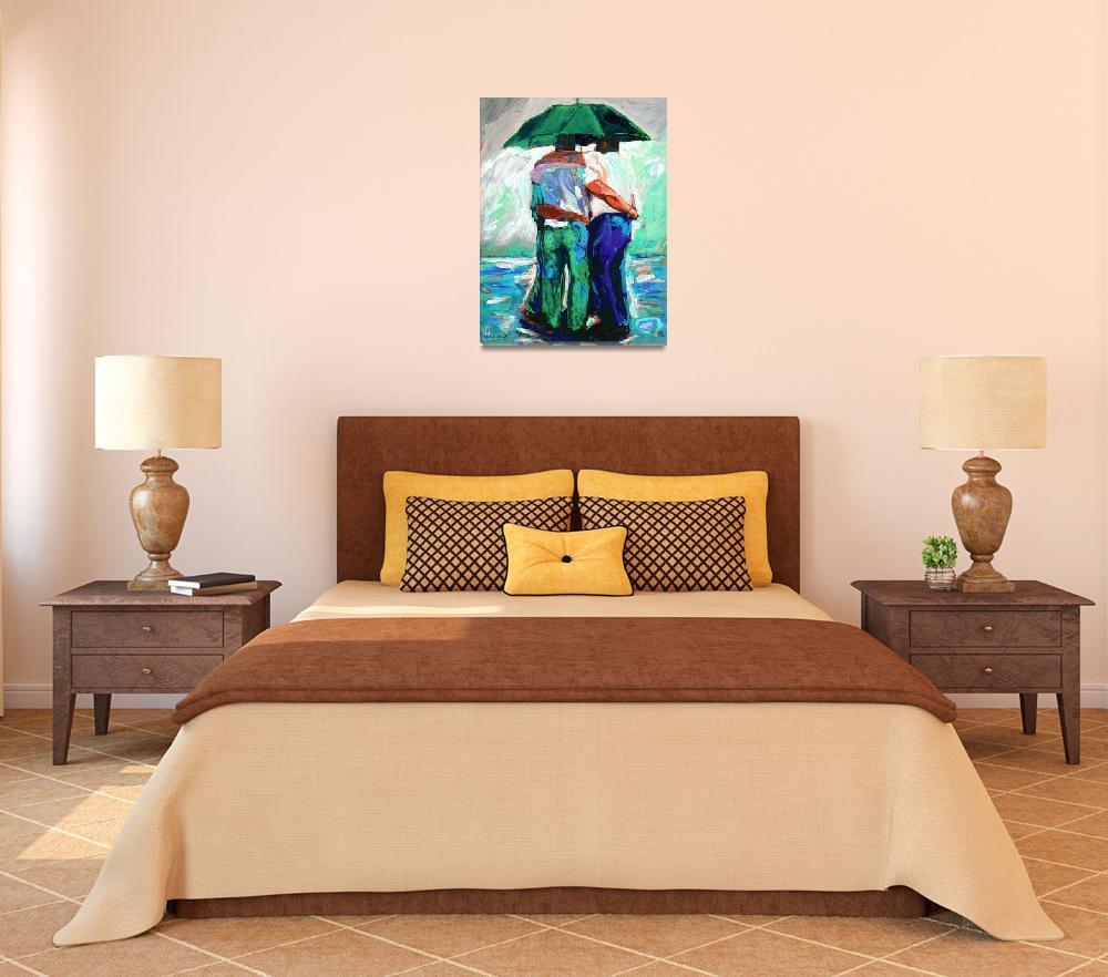 """Green Umbrella Rain Bears&quot  (2007) by RDRiccoboni"