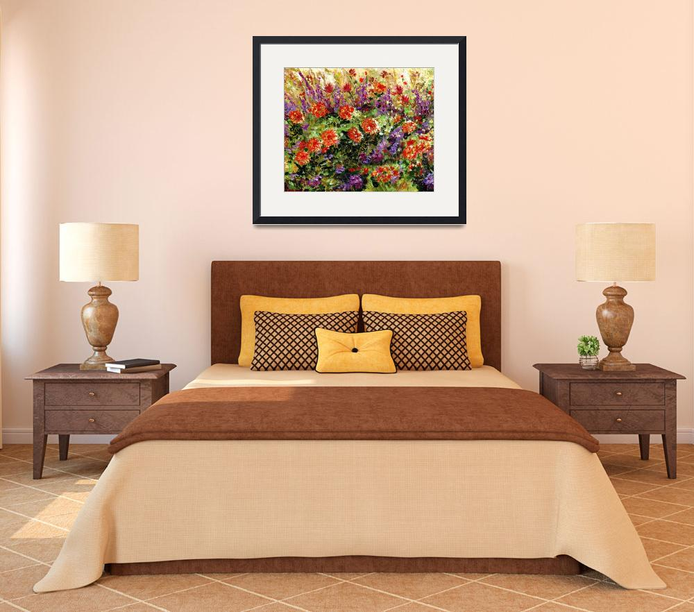"""""""Bed of Flowers Impressionist painting by Ginette&quot  (2000) by GinetteCallaway"""