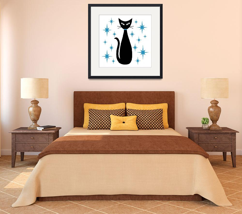 """""""Mid Century Cat with Blue Starbursts""""  by DMibus"""