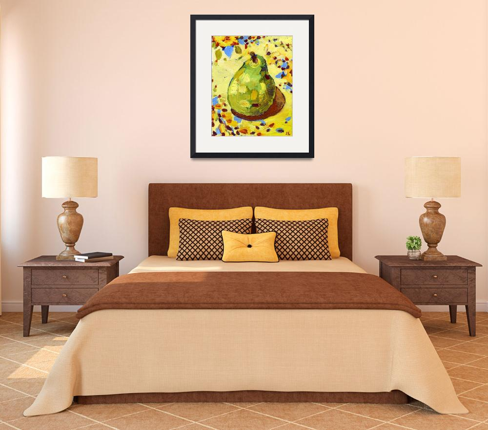 """""""Pear on my Favorite Sunflower Tablecloth&quot  by JENLO"""