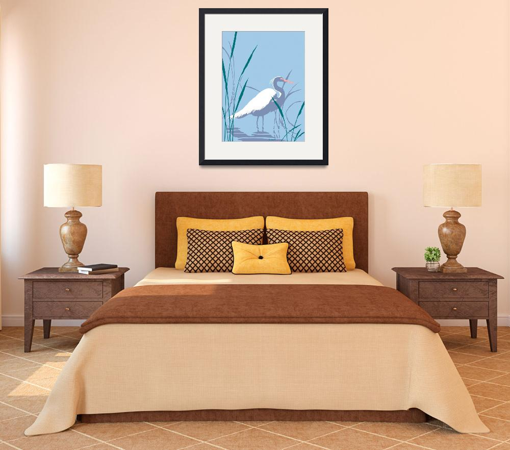 """""""abstract Egret graphic retro pop art&quot  (1985) by walt-curlee"""