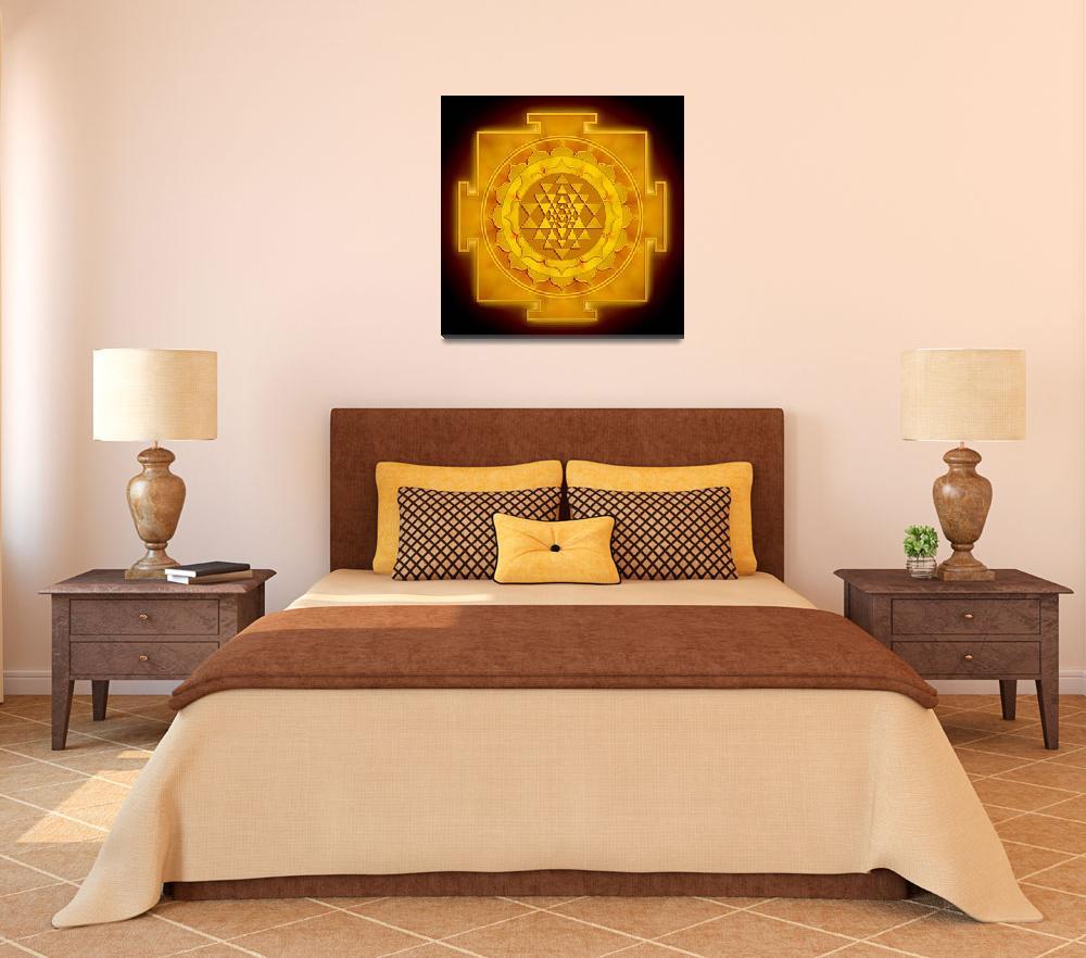 """Golden Sri Yantra - Artwork 1""  by dcz"