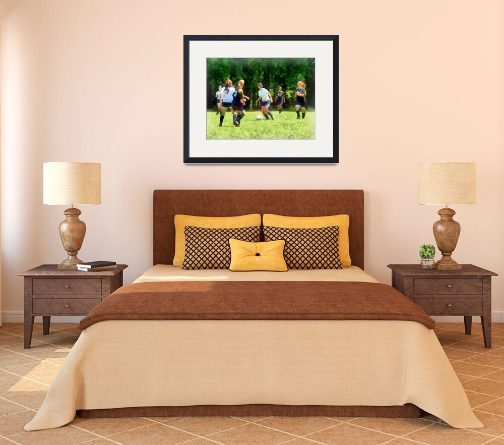 """""""Girls Playing Soccer""""  by susansartgallery"""