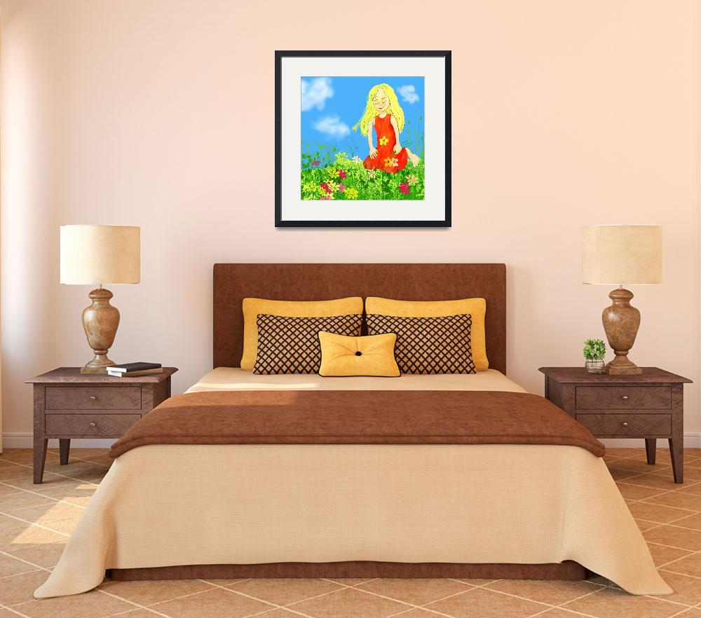"""""""blue,art,illustration,childrens room,flowers,girl,&quot  by MarianneIlevitzky"""