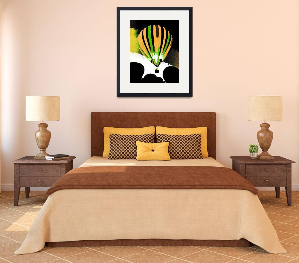 """""""Stripe Hot Air Balloon  gold and green&quot  (2012) by psovart"""