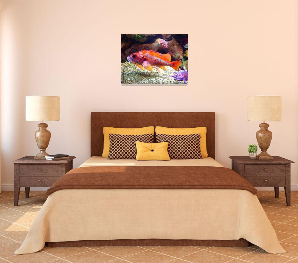 """Orange Purple Fish&quot  (2009) by AmyVangsgard"