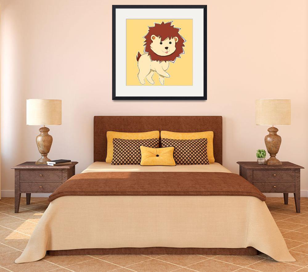 """Happy Cartoon Baby Lion""  (2017) by Catifornia"