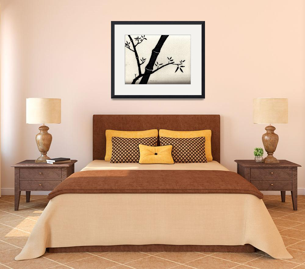 """""""Zen Sumi Antique Bamboo 2a Black Ink on Watercolor&quot  (2011) by Ricardos"""