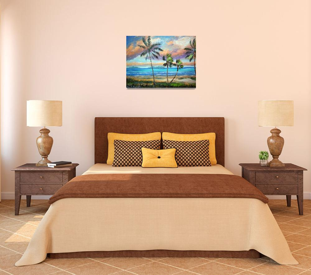 """""""Tropical Island Beach Painting&quot  (2011) by mazz"""