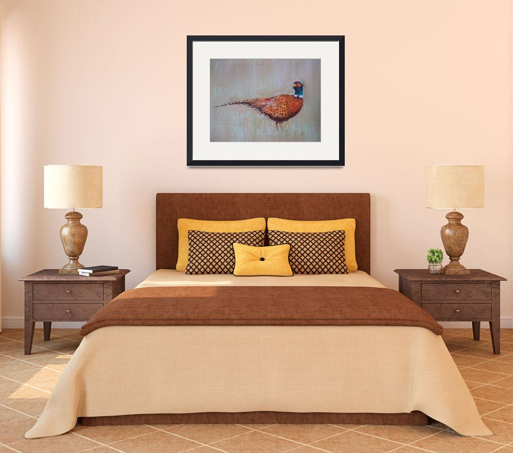 """pheasant painting-wildlife art-karenjanegreen-arti&quot  by karen38green"