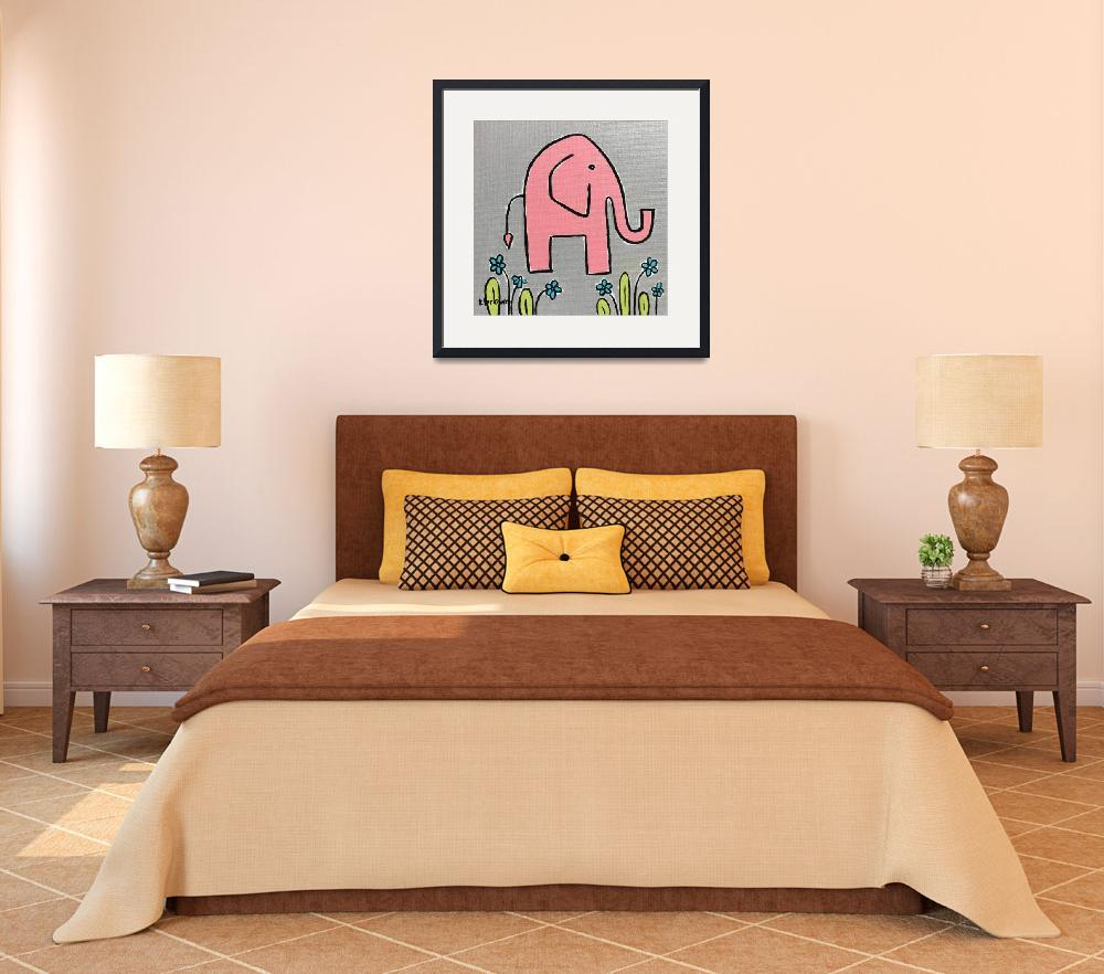 """pink elephant.&quot  (2016) by traciebrownart"
