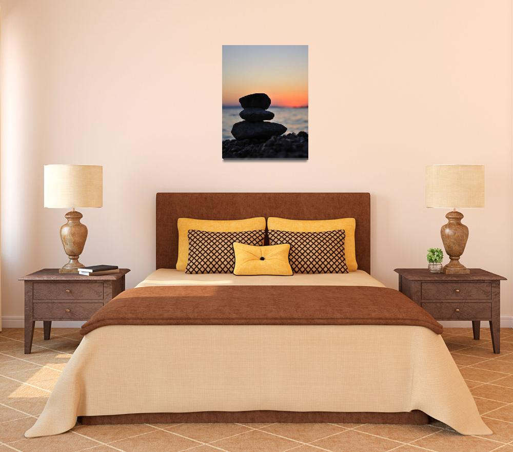 """""""Silhouette of three zen rocks on the beach&quot  (2012) by creative_photography"""