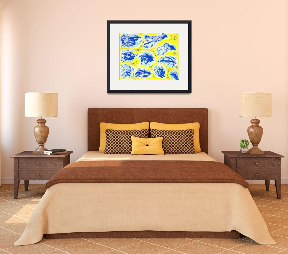 """""""Blue Landscapes on Yellow Background""""  (2008) by spiritualartist"""
