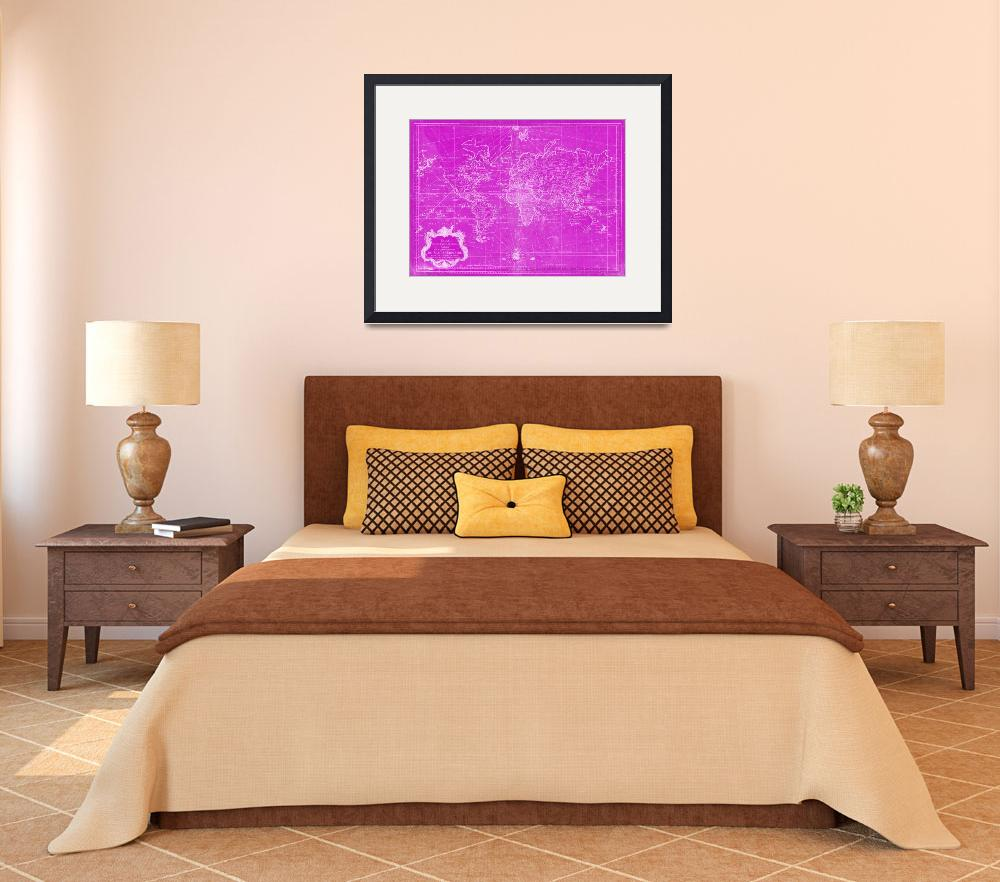 """""""World Map (1778) Pink & White&quot  by Alleycatshirts"""