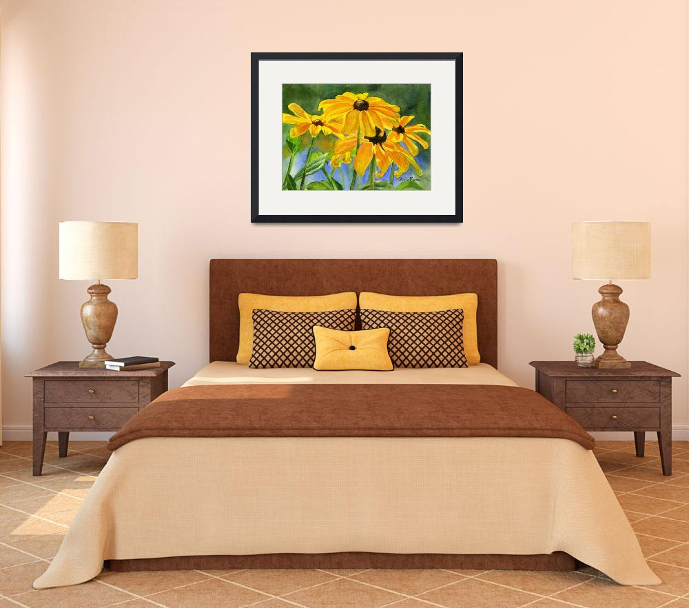 """""""Black Eyed Susans""""  (2009) by Pacific-NW-Watercolors"""