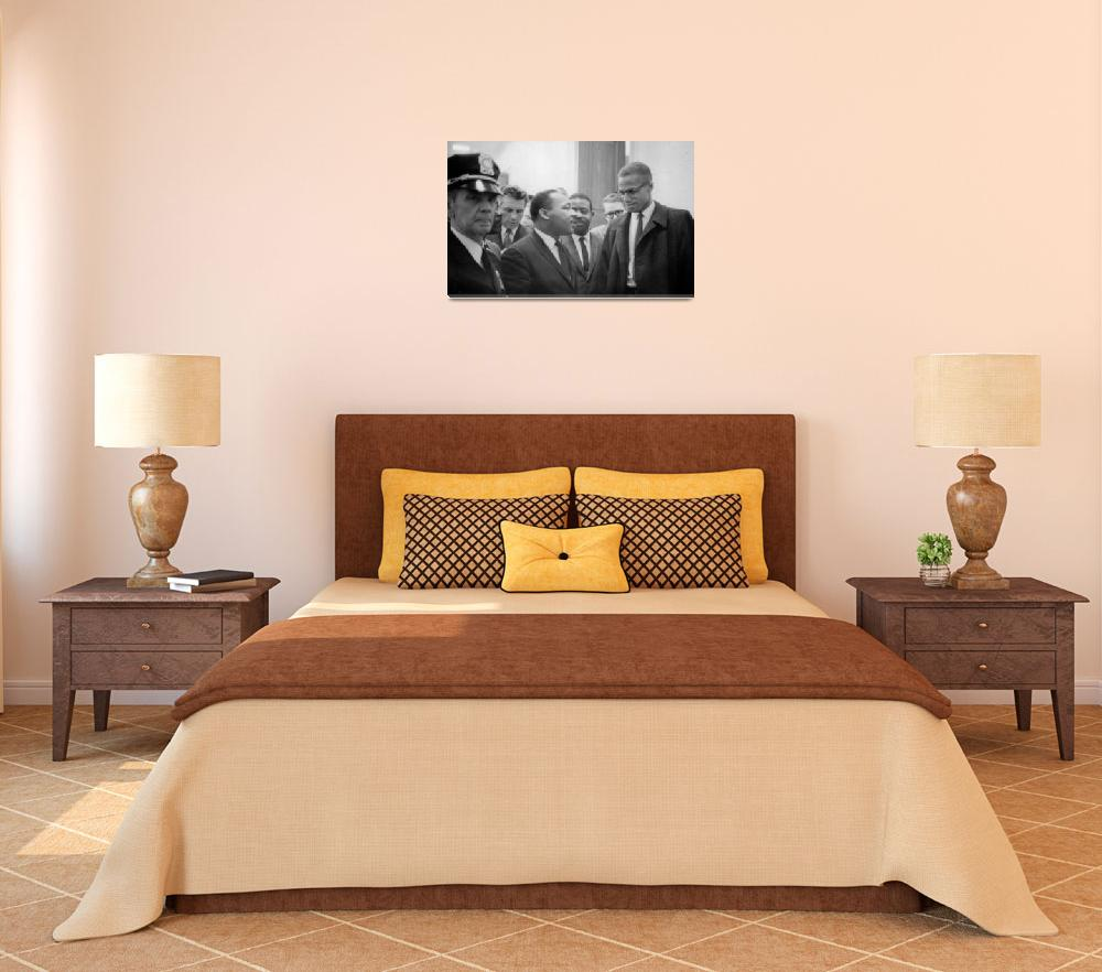 """""""Martin Luther King Jnr (1929-1968) and Malcolm X (""""  by fineartmasters"""