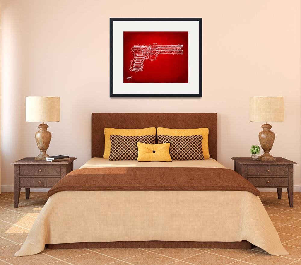 """1903 Mcclean Pistol Patent Minimal Red""  by nikkismith"