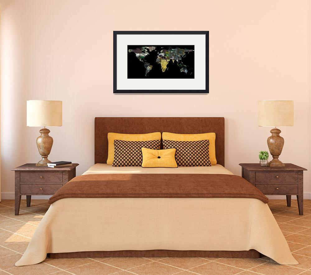 """""""World Map Silhouette - A Busy World Painting&quot  by Alleycatshirts"""