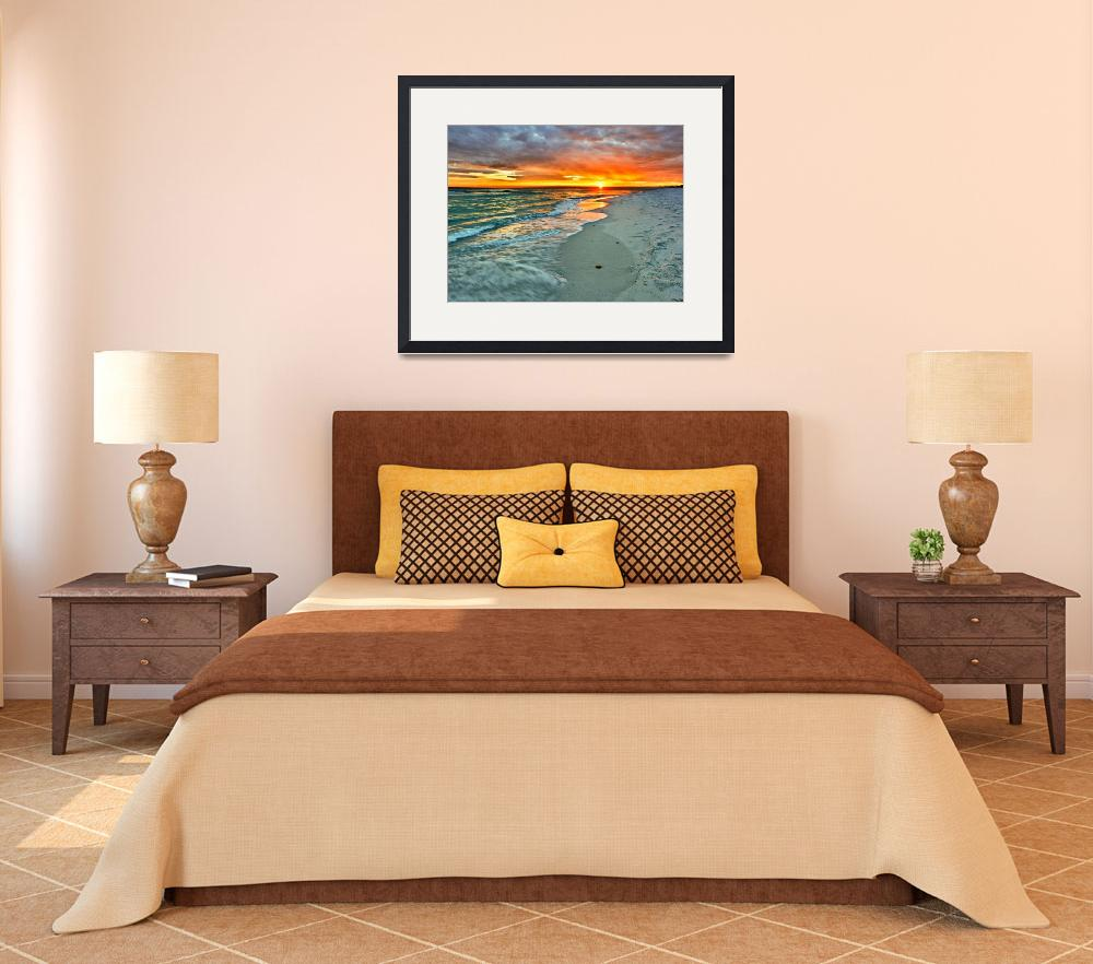 """Orange Sunset Green Waves Beach Fine Art Prints""  (2010) by eszra"