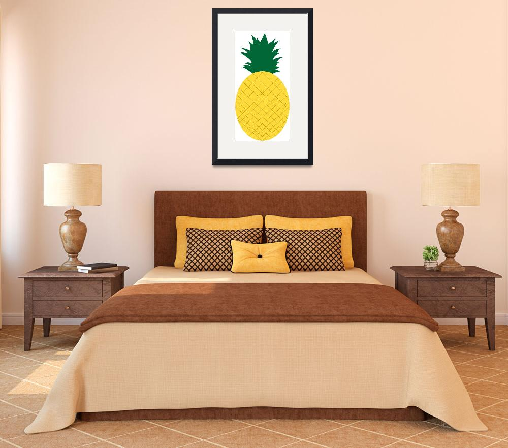 """""""Yellow Pineapple with Green Leaves&quot  (2017) by ValeriesGallery"""