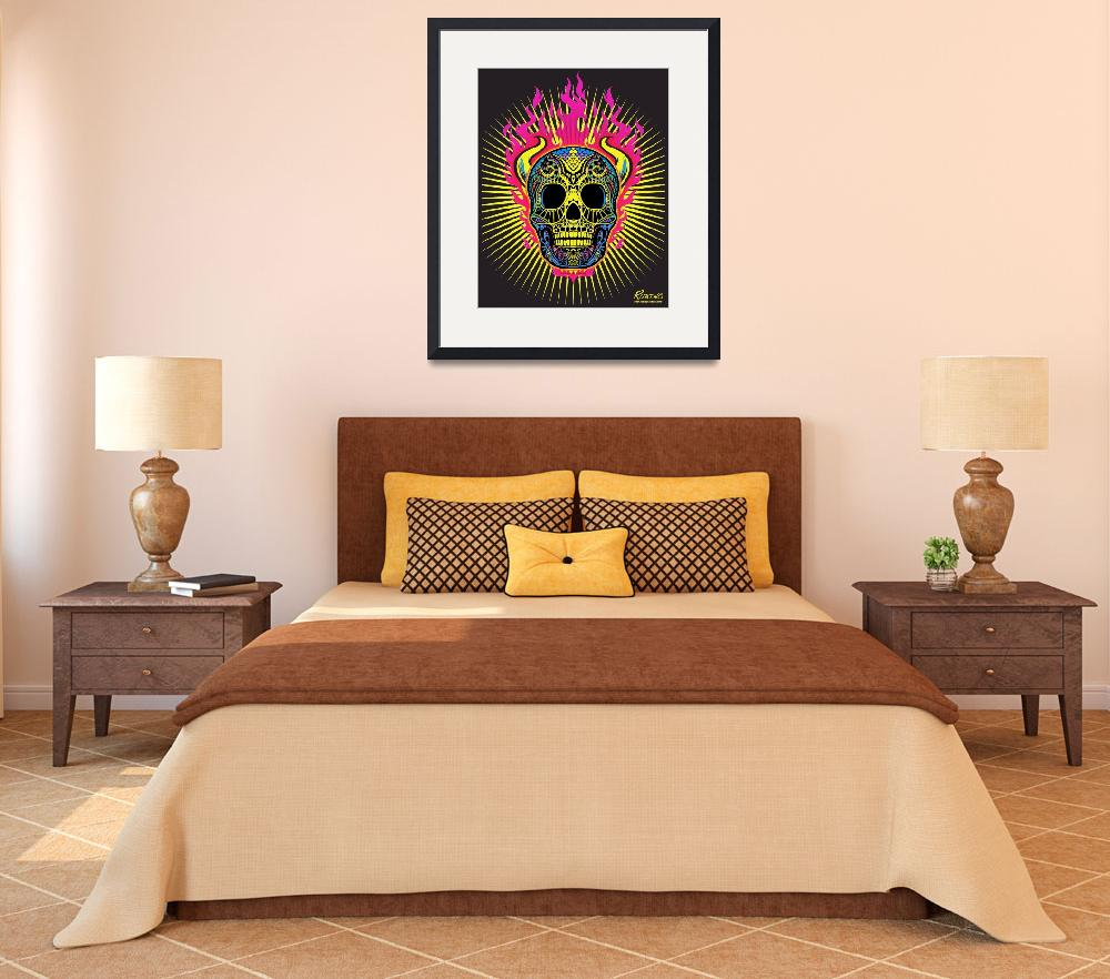 """Flaming Skull&quot  (2013) by RubinoFineArt"