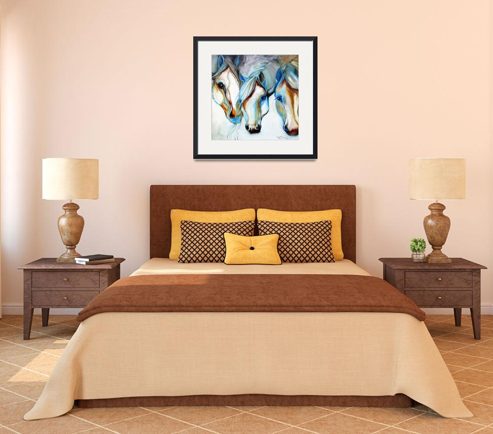 """""""3 WILD HORSES in ABSTRACT&quot  (2010) by MBaldwinFineArt2006"""
