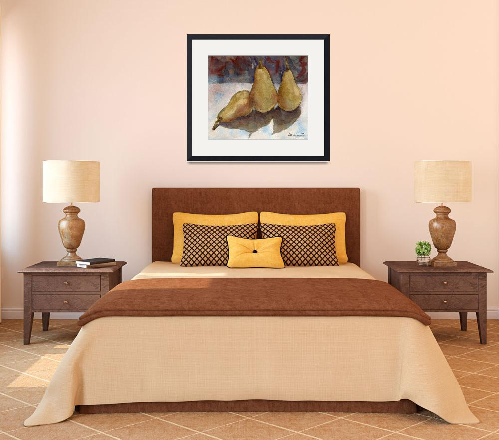 """""""Bosc Pears, still life painting of fruit&quot  (2013) by schulmanart"""